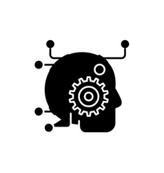 artificial intelligence black icon sign on vector image