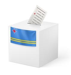 Ballot box with voting paper aruba vector