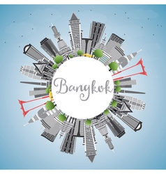 Bangkok Skyline with Gray Landmarks Blue Sky vector