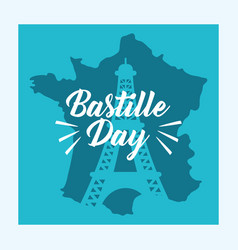 bastille day celebration card with map vector image