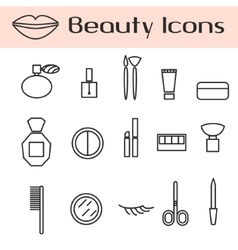 Beauty cosmetics line icon set vector