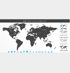 Big set high detailed maps and globes pins vector