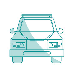 Blue shading silhouette cartoon front view car vector