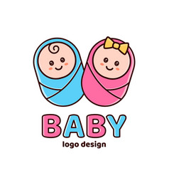 Boy and girlbaby showernewborn logo vector