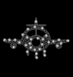 Bright mesh 2d aircraft with flash spots vector