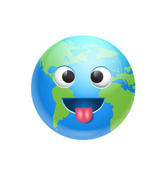 cartoon earth face fool icon funny planet emotion vector image