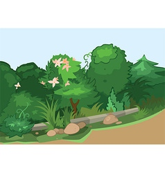 Cartoon green trees on the side of the road vector image