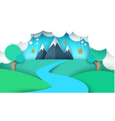 Cartoon paper landscape mountain vector