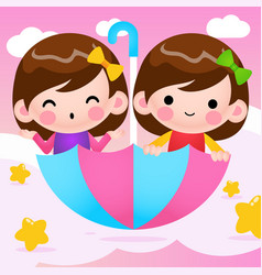 Cartoon twins girls riding flying umbrella vector
