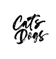 cats dogs handwritten black calligraphy vector image