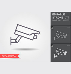 cctv camera line icon with editable stroke vector image