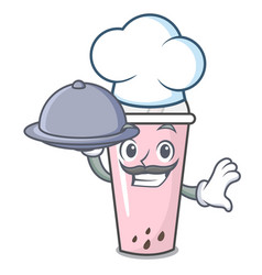 Chef with food raspberry bubble tea character vector