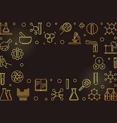 chemistry outline golden frame line vector image
