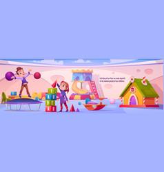 children on playground in kindergarten vector image