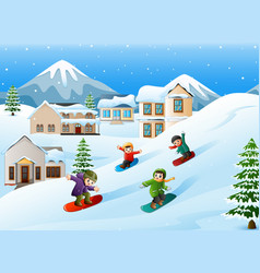Children snowboarder sliding down hill vector