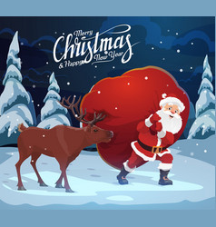 christmas and new year santa claus with deer bag vector image