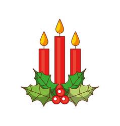christmas three candle holly berry leaves burning vector image