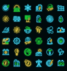 clean energy icons set neon vector image