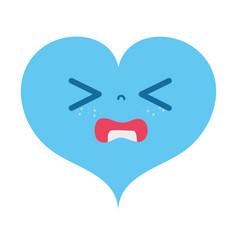 Colorful gaudy heart love kawaii cartoon vector