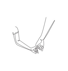 Continuous one line drawing dad holding hands vector