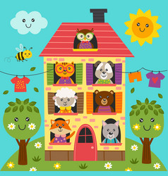 cute animals in the house vector image