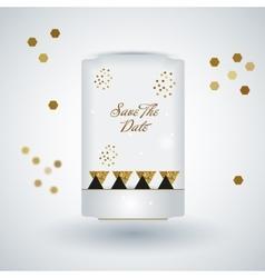 Cute card with gold confetti glitter vector image