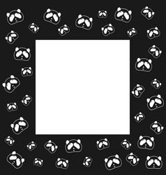Cute panda bear frame design black and white vector
