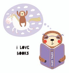 Cute sloth reading a book vector