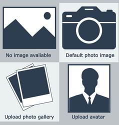Dark blue set no image available no photo bla vector