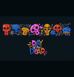 day dead card colorful watercolor skull art vector image