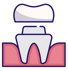 Dental crown linecolor vector