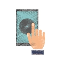 Drawing hand hold smartphone music application vector