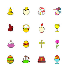 Easter set icons set cartoon vector