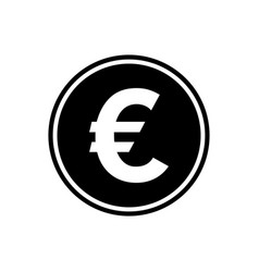 euro round flat icon currency icon vector image
