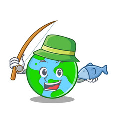 Fishing world globe character cartoon vector