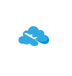 flying plane across a big cloud logo design vector image