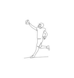 Football player in helmet catch ball vector