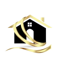 golden modern house real estate icon vector image