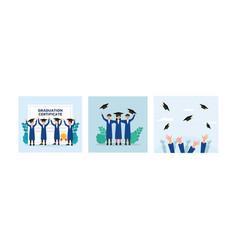 group flat graduation certificate vector image
