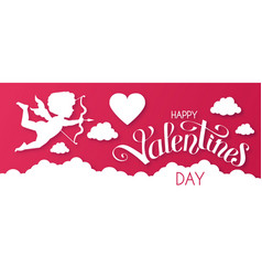 Happy valentine s day papercut design template vector