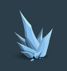 Ice crystal in cartoon style 3d frozen spike vector