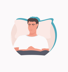 Ill man patient lying on bed in hospital medicine vector