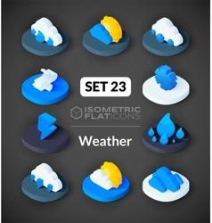 Isometric flat icons set 23 vector image