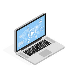 isometric laptop online video tutorial and social vector image