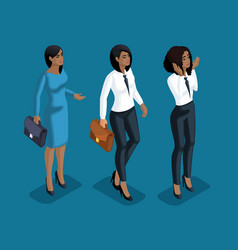 isometry girl emotions hand gestures business lad vector image