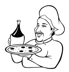 Italian chef outline vector image