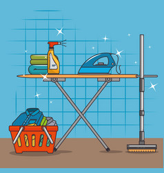 laundry basket and ironing board vector image