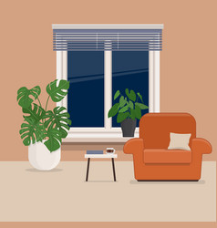 Living room with armchair house plants and window vector