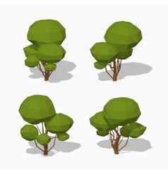 Low poly green tree vector