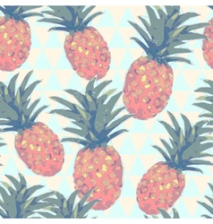 Low poly style seamless pattern with pineapple in vector image